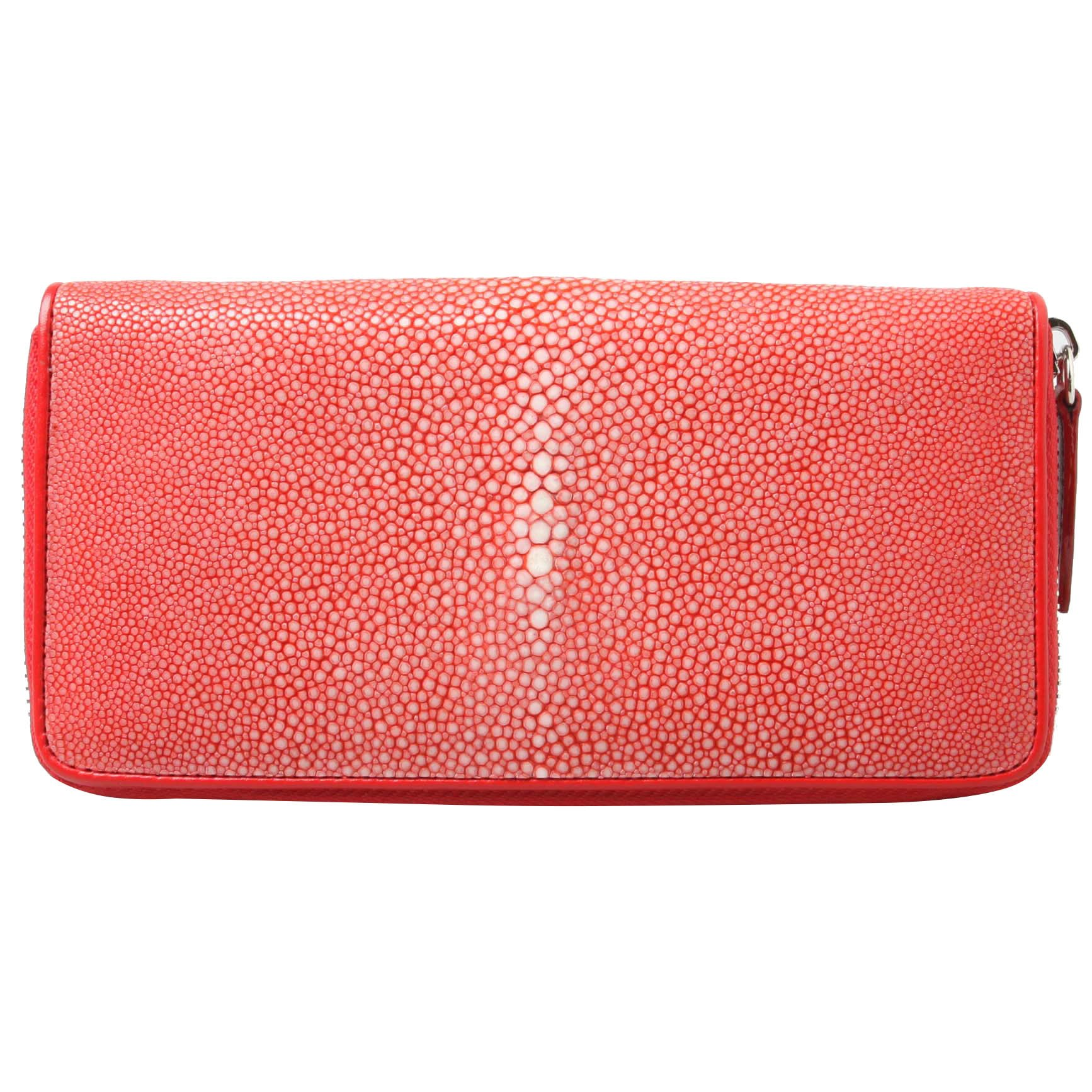 Genuine Polished Stingray Leather Red Clutch Women Zip Around Coin Wallet Purse