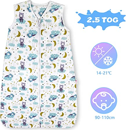Licitn Saco de Dormir para Bebé - 2.5 TOG Saco de Dormir de Algodón Unisex para Bebés,Longitud Ajustable para Bebé