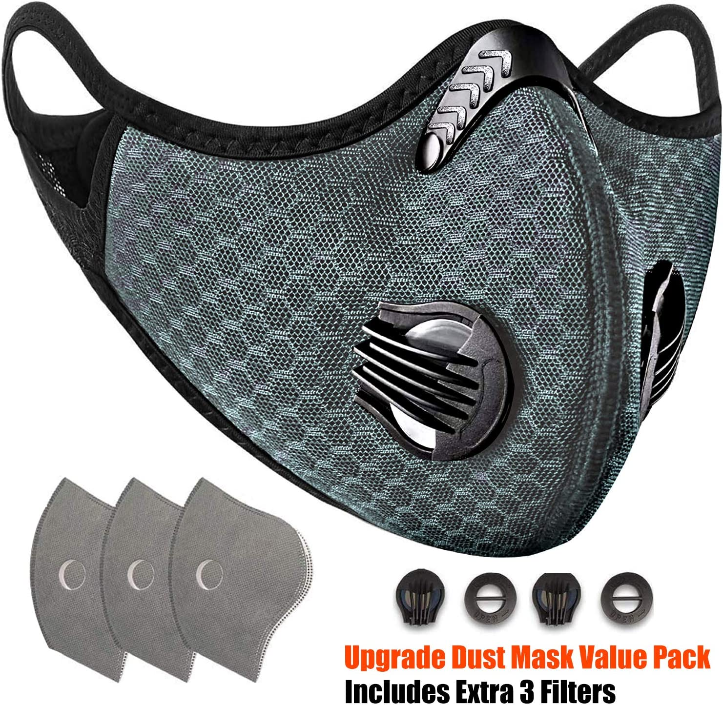 Dust Breathing Mask Activated Carbon Dustproof Mask Washable and Reusable Mask with 6 Carbon N99 Barrier for Pollen Allergy Woodworking Mowing Running Cycling Outdoor Activities,Gray