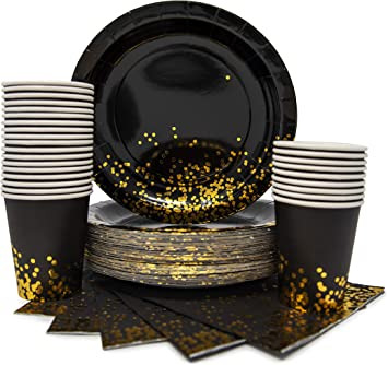 12 Ounce Cups Wedding Complete Party Pack Anniversary 2 Table Covers New Years Engagements Retirement 30 Napkins Geo Black Gold Hexagon Gold Foil Serves 30 10.5 Dinner Plates 7.5 Dessert Plates Parti Ideal for Birthday 30 Straws
