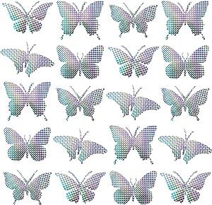 20 Pieces Anti-Collision Alert Stickers Butterflies Bird Deterrent Window Clings Deter Birds, Stop Birds Flying Into Windows, 5 Shapes