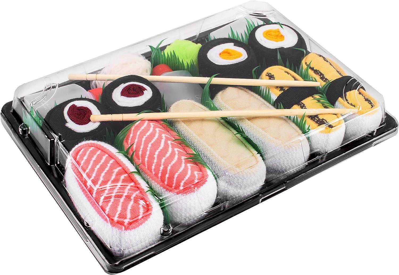 Rainbow Socks - Men's Women's - Sushi Socks Box Tamago Butterfish Salmon Maki - 5 Pairs