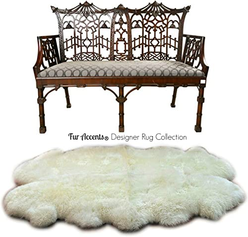 Fur Accents Thickest Faux Fur Sheepskin Area Rug – Living Room, Dining Room, Bedroom, Nursery – Pelt Shape – 4 Colors Art Rug Collection 6 x8 , Off White