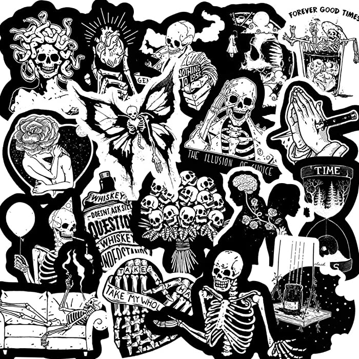 Black and White Cool Skull Punk Stickers for Laptop,50PCS Vinyls Decals for Laptop,Cars,Motorcycle,Bicycle,Skateboard Luggage,Bumper Stickers Hippie Decals Bomb Waterproof