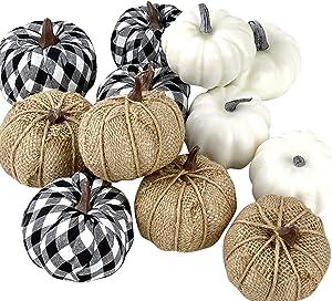 changsha 12 Pack Artificial Pumpkins Decorations, Burlap Pumpkins, Assorted Faux Harvest Pumpkins, Mini Foam Pumpkins for Fall Wedding Thanksgiving Halloween Party Decoration