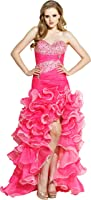 Beaded Organza High-Low Ruffle Prom Pageant Dance Dress, Small, Hot-Pink