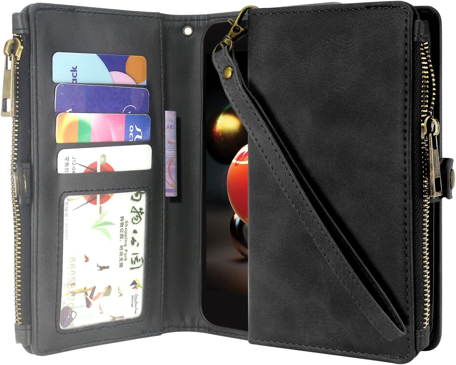 LG Aristo 2/Aristo 3 /Rebel 4 /Phoenix 4 /Rebel 3/Tribute Dynasty/Zone 4 Case/Fortune 2 Case, Premium Leather Flip Zipper Wallet Case Stand Feature with Card Holder and Wrist Strap - Zipper Black