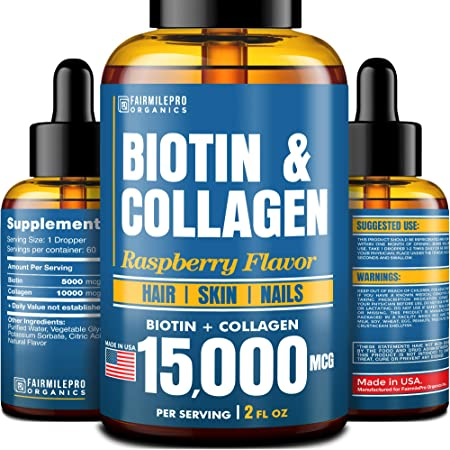 Biotin & Collagen 15,000 mcg - All-Natural Hair Growth Treatment - Made in USA - Liquid Collagen for Women & Men - Biotin Vitamins for Hair, Skin and Nails - Non-GMO - 2 fl oz