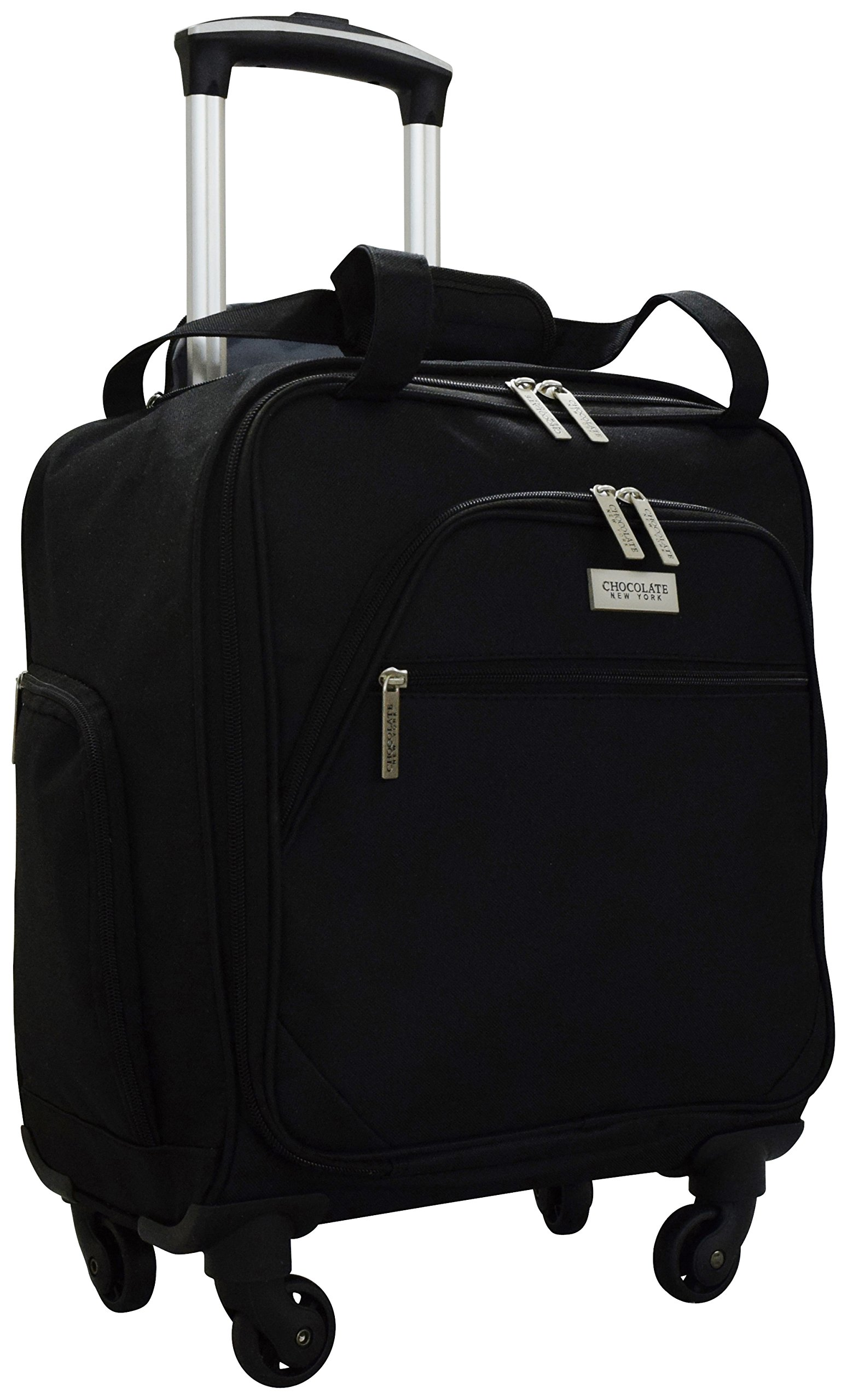 Chocolate New York Spinner Under Seater Luggage, 18 Inches - Black (753)
