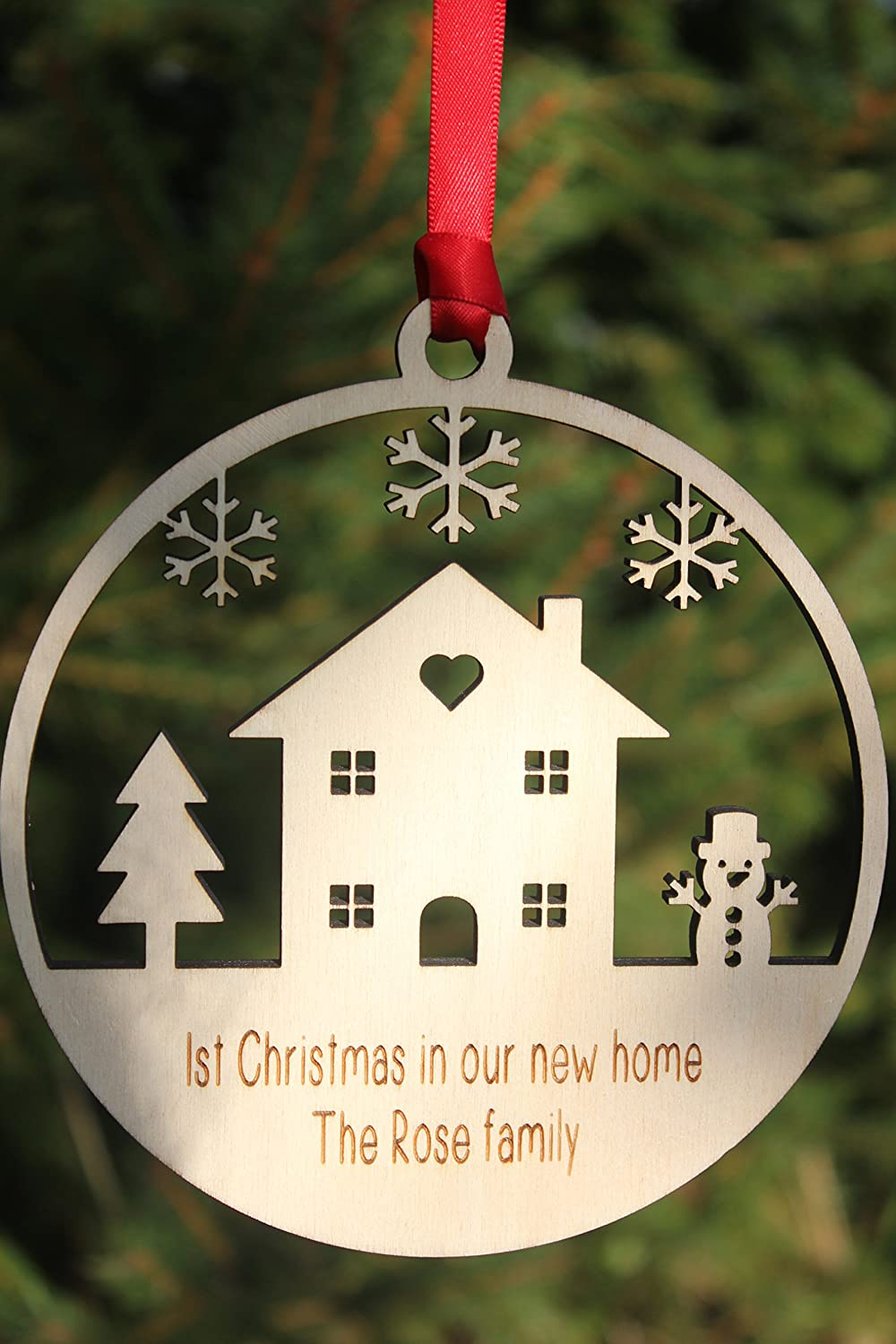 Good ALPHABET BARN Christmas New Home Personalised Xmas Decoration Engraved Wood  Made In The UK By ALPHABET BARN Keepsake House Warming 12.5cm X 12.5cm: ...