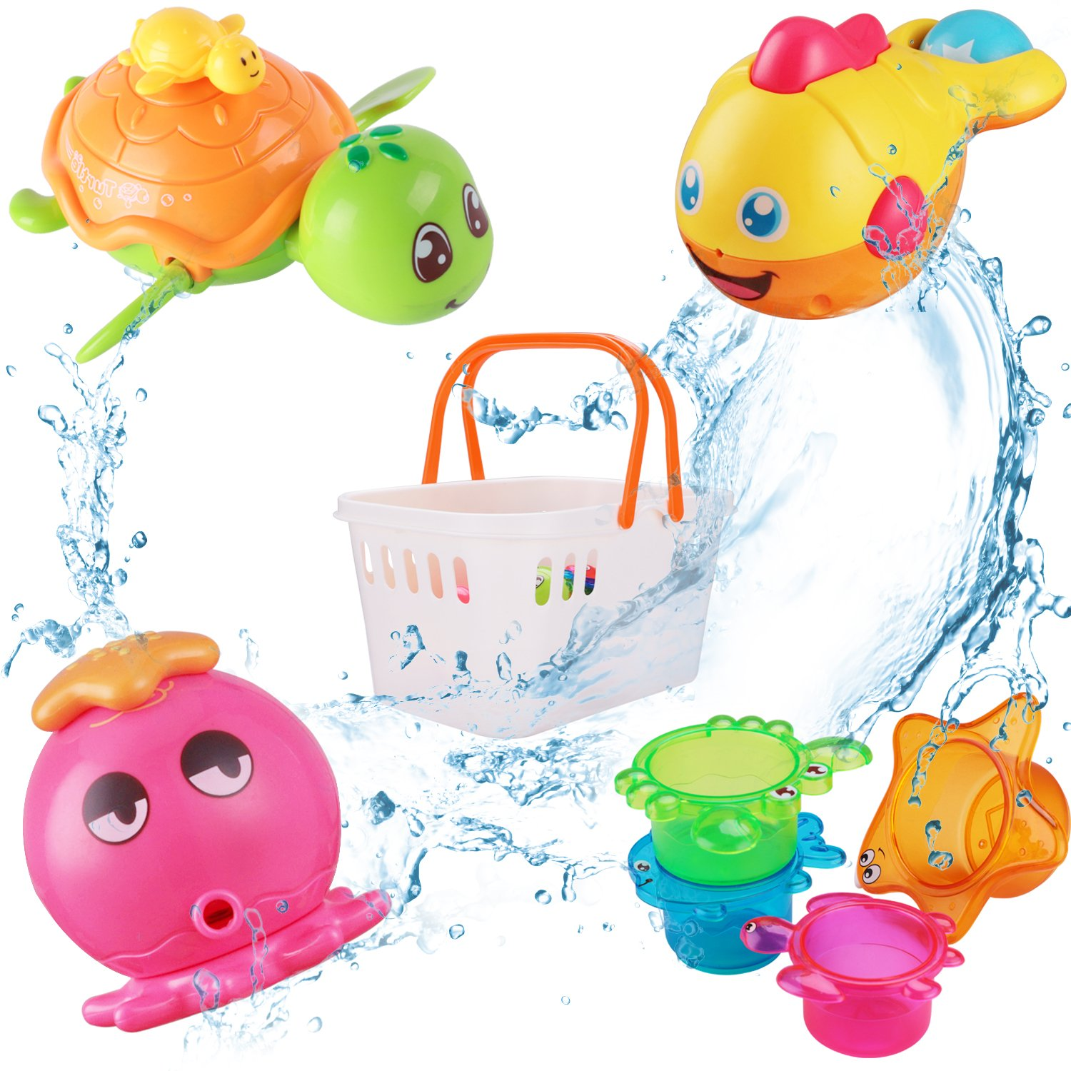 iPlay, iLearn Baby Bath Toys with Organizer, Octopus Water Squirters Bathtub Toys, Stacking Cups, Wind Up Swimming Shower Toys Gift for 6, 9, 12, 18 Months 1, 2, 3 Years Old Toddlers Girls Boys Kids