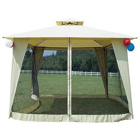 Gazebo 2 5 X 3.Gojooasis Metal Gazebo Outdoor 2 Tier Canopy Party Tent With Mesh Sidewalls 12x12 Beige Amazon In Garden Outdoors