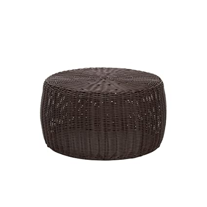 Household Essentials ML 5005 Resin Wicker Footstool Ottoman | Brown