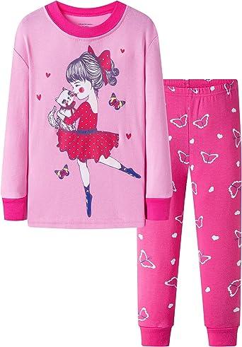 DAUGHTER QUEEN Niña Pijamas Conjunto Algodón Dos Piezas PJs 1-7 Años Manga Larga Pijamas Invierno Pijamas