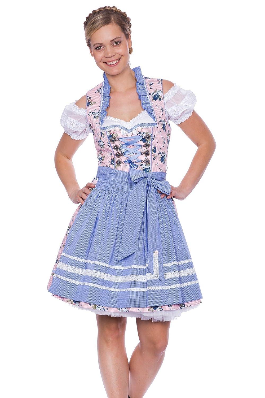 Krüger Madl - Dirndl - Mini - Honey - romantisch - hellblau / rosa