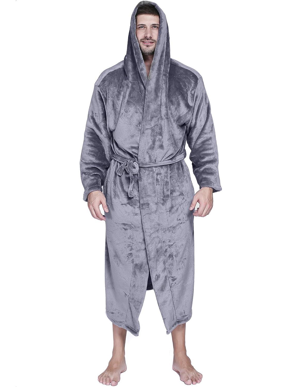 Ekouaer Comfy Robe Men's Fleece Long Hooded Plush Spa/Bathrobe Loungewear **EKK007868