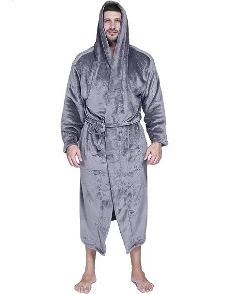 b529a75311 Ekouaer Mens Nightgowns Long Sleepwear Short Sleeves Henley Sleep Shirt M- XXXL (B-