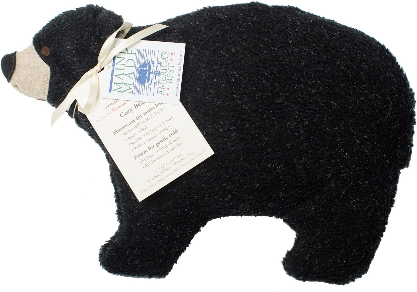 Maine Warmers Black Bear Microwave Corn Filled Heating Pad - Heat or Freeze!