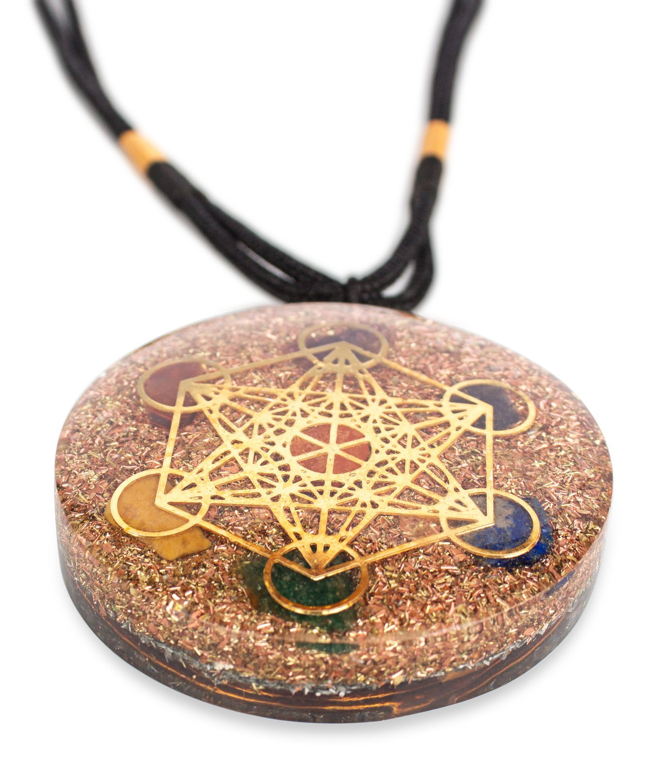 Reversible Metatron Cube Orgonite Mixed Chakra Orgone Pendant – Revitalization and relaxation Chi energy enhancing Carnelian, Lapis Lazuli, Crystal necklace with Tesla Coil 2 Styles- Unisex