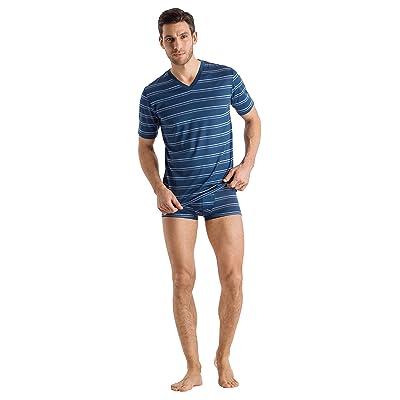 HANRO Men's Sporty Stripe Short Sleeve V-Neck Shirt at Amazon Men's Clothing store
