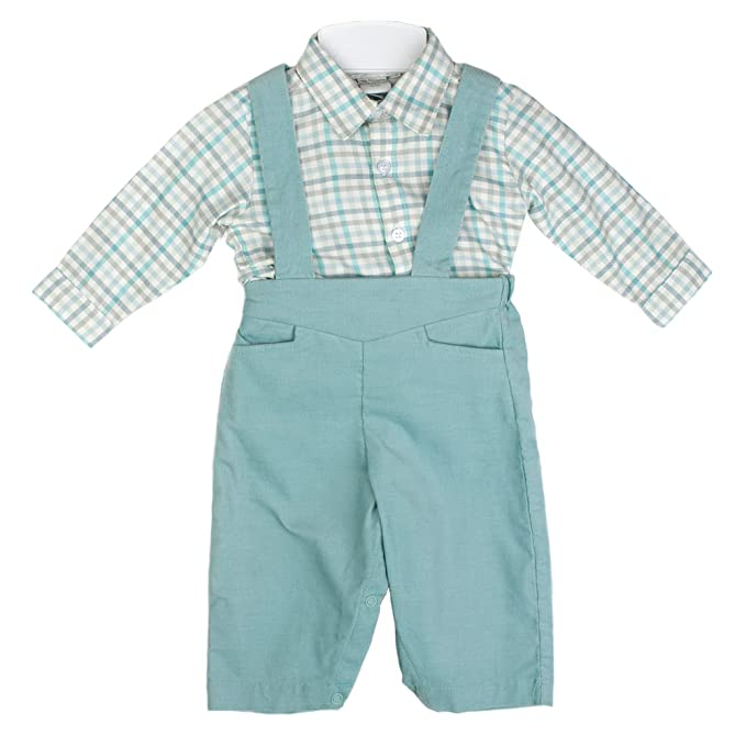 1930s Childrens Fashion: Girls, Boys, Toddler, Baby Costumes Baby Boys 2 Piece Corduroy Overall w/ Checkered Shirt - Blue $25.00 AT vintagedancer.com