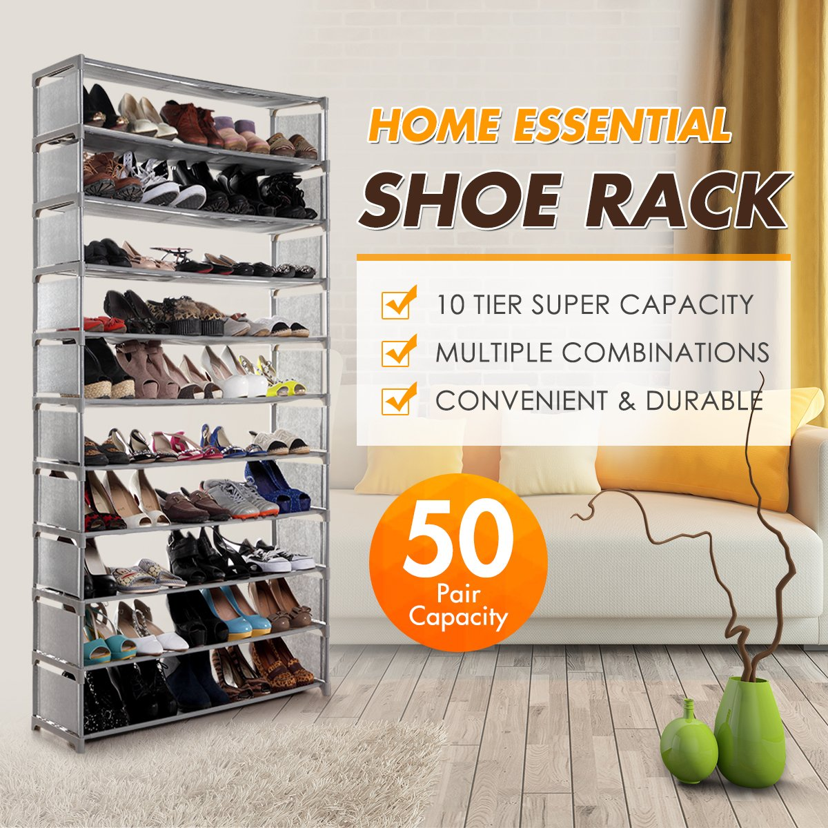 Multiple Combination 50 Pairs 10 Tier Shelf Portable Metal Pipes Organizer Stand With Waterproof Fabric Tiers Luxsuite Shoe Rack Storage Easy Assemble