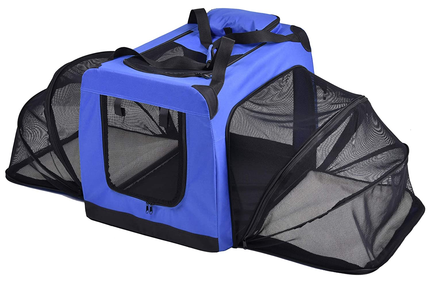 bluee Small bluee Small Pet Life Hounda Accordion' Metal Framed Soft-Folding Collapsible Dual-Sided Expandable Pet Dog Crate, Small, bluee