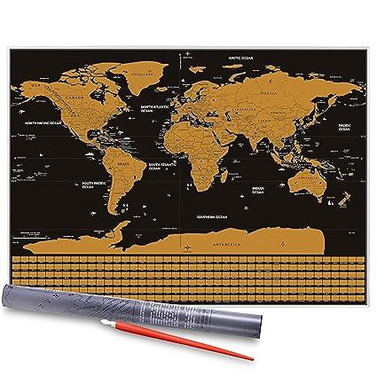 Mapa del Mundo, Vitutech Rasca el Mundo mapamundi para rascar Deluxe Travel Edición Rasca Mapa