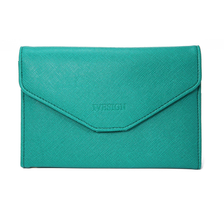 IVESIGN Travel Passport Wallet Trifold Envelope Document Organizer Holder (Green)