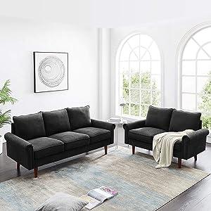 Merax Modern Velvet Couch Loveseat Sets for Living Room or Bedroom Sofas, Black