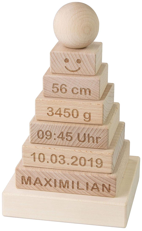 Motorikspielzeug f/ür Kinder Natur 11 x 11 x 19 cm Holz ca LAUBLUST Stapelturm Personalisiert mit Wunsch-Gravur