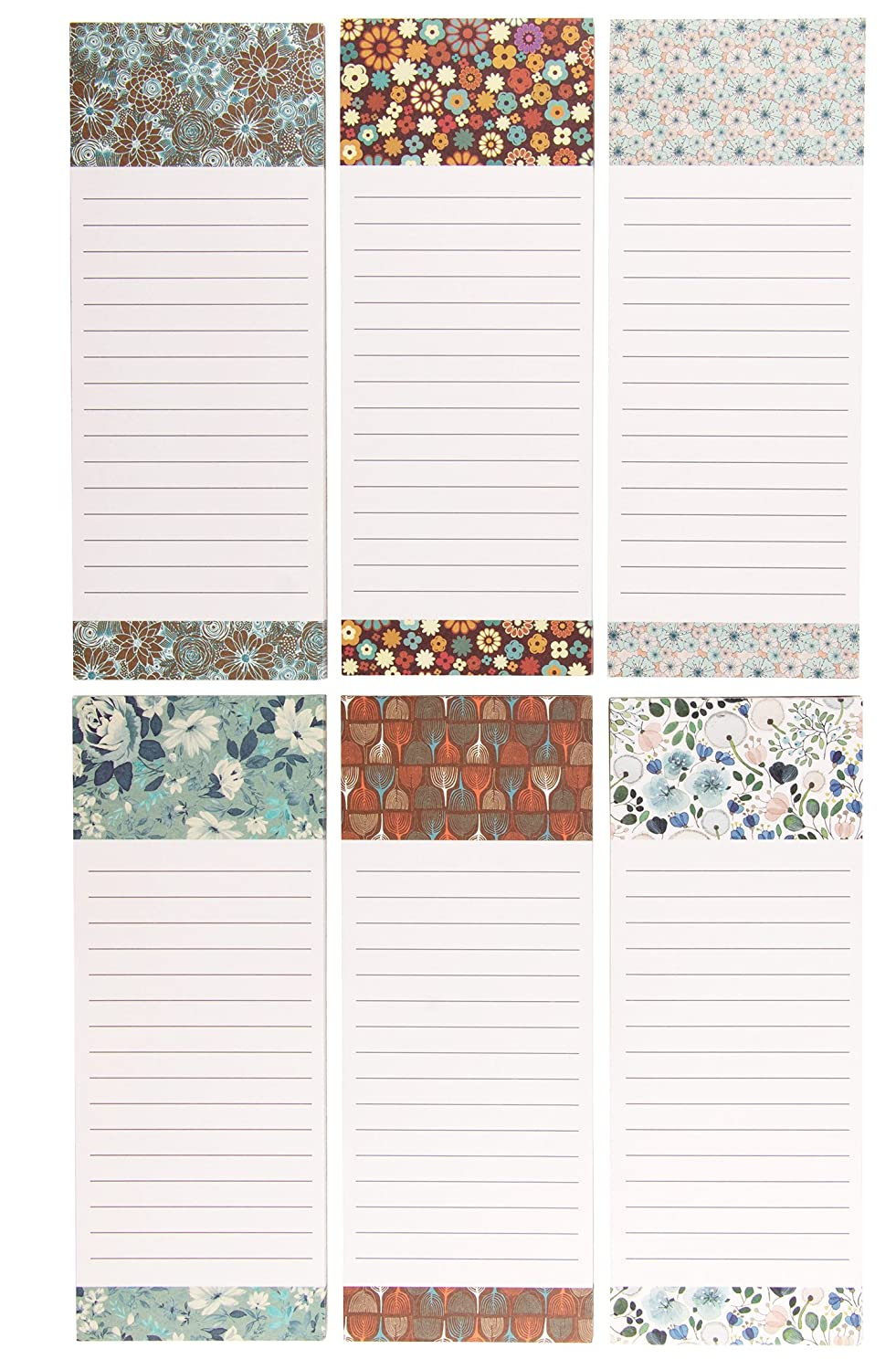 Juvale Magnetic Shopping List for Fridge, Floral To-Do List Refrigerator Notepad approx. 60 sheets each, 3.5 x 9 inches