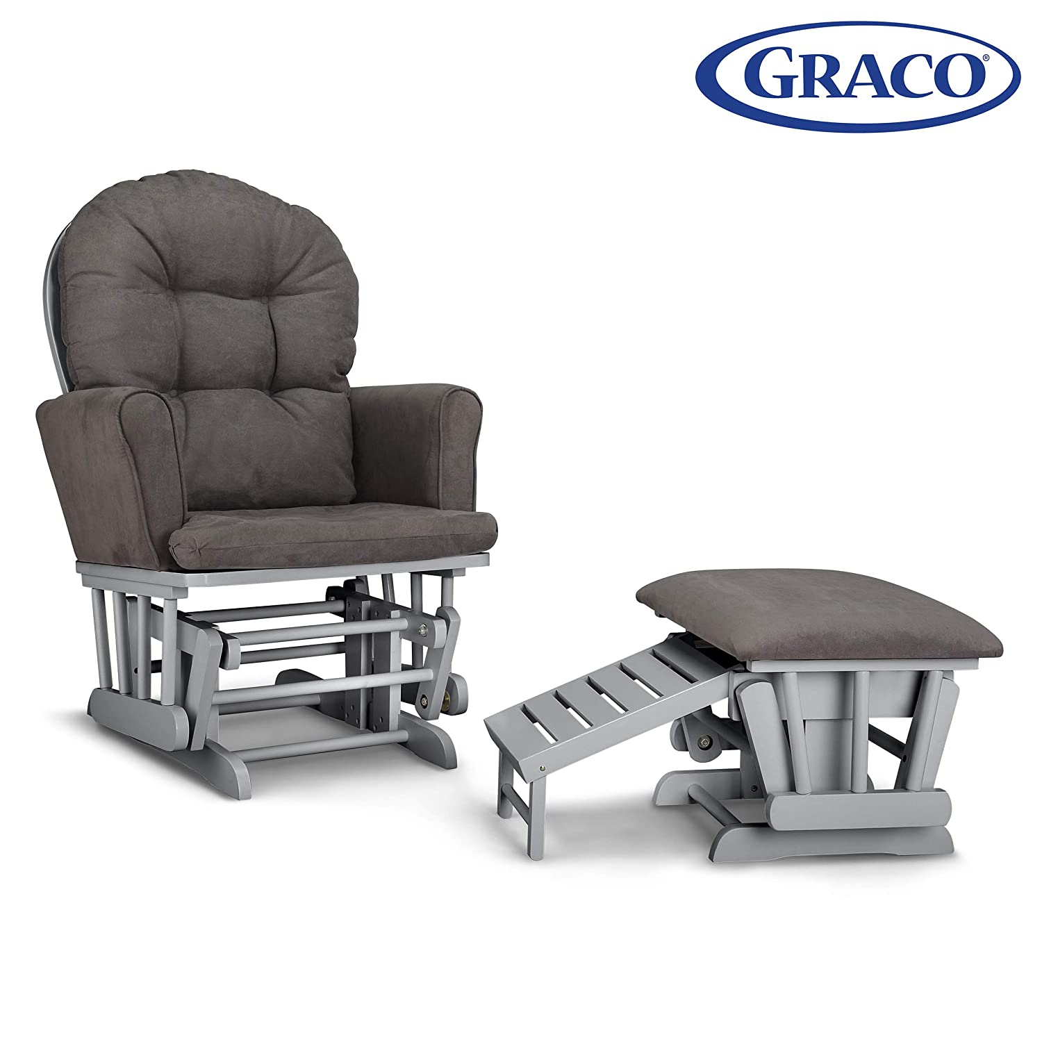 Strange Graco Parker Semi Upholstered Glider And Nursing Ottoman White Gray Cleanable Upholstered Comfort Rocking Nursery Chair With Ottoman Gmtry Best Dining Table And Chair Ideas Images Gmtryco