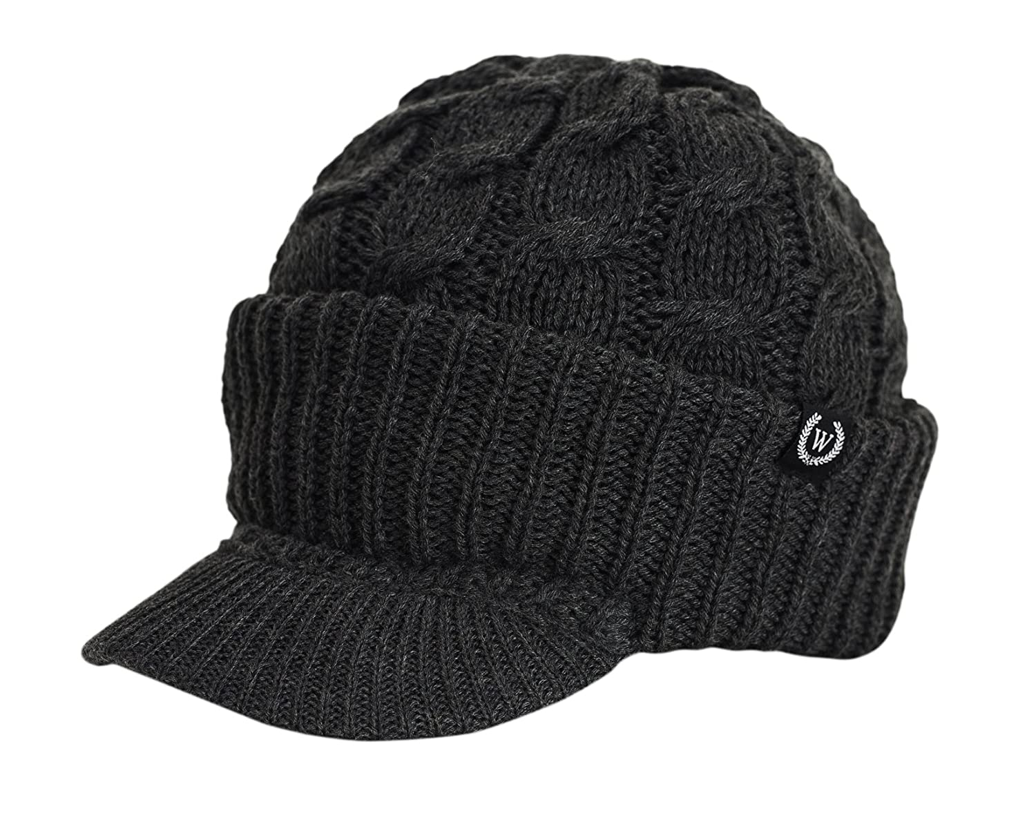 Wonderful Fashion Cable Knitted Hat With Visor Bill Winter Warm Hat For Women Charcoal