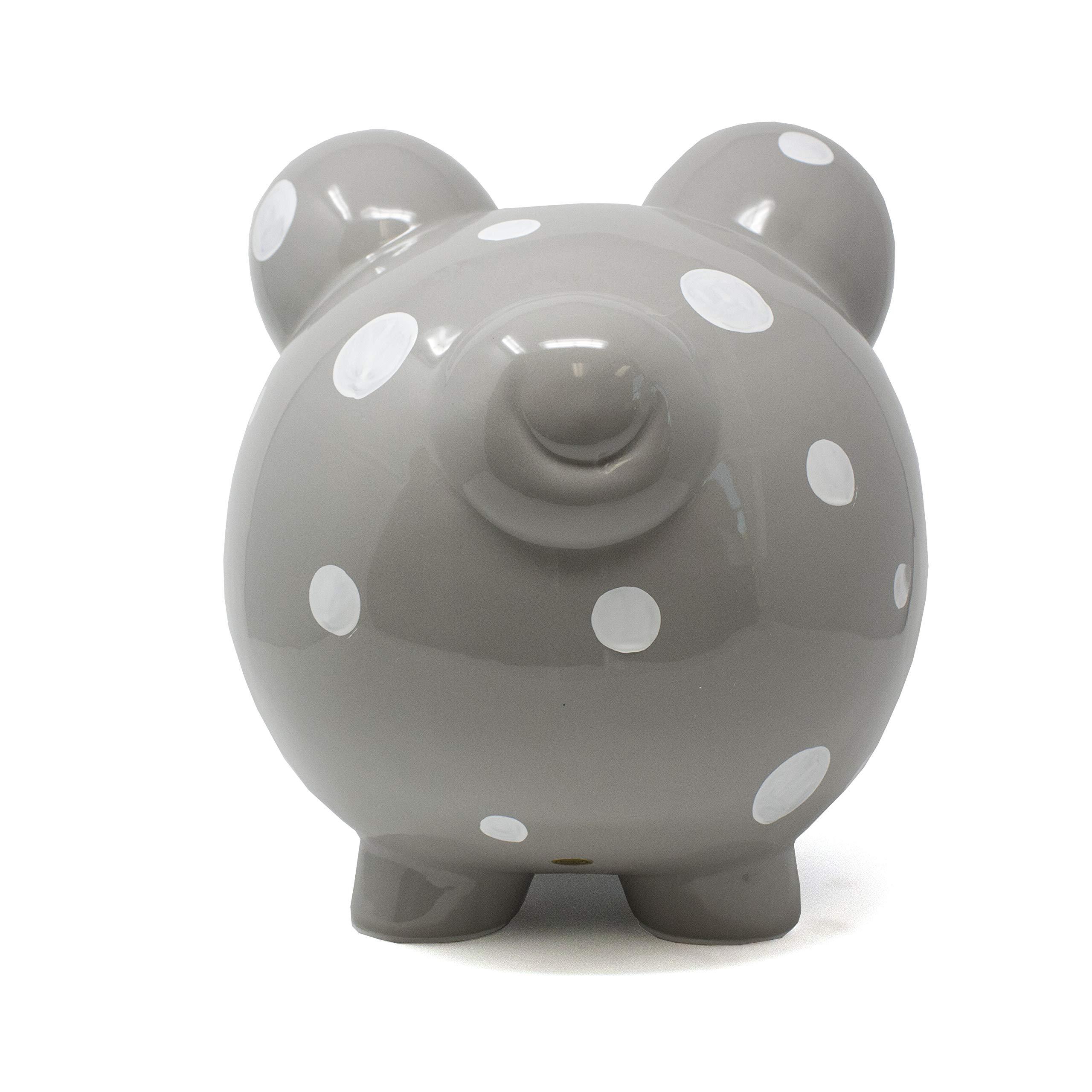 Child to Cherish Large Ceramic Boss Piggy Bank, Gray Polka Dot by Child to Cherish (Image #3)