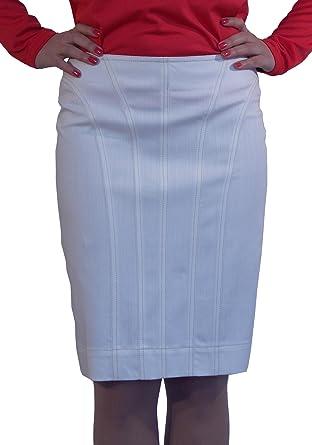New Ladies Casual Boutique Knee Length Pencil White Denim Skirt UK ...