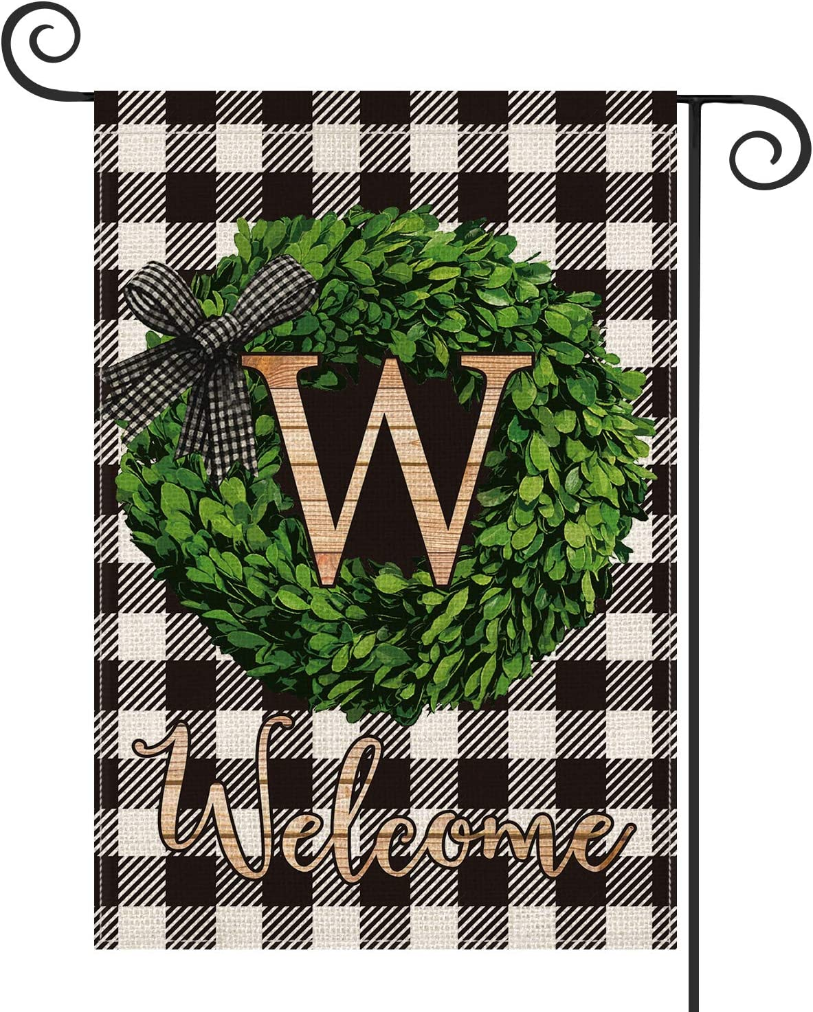 AVOIN Boxwood Wreath Monogram Initial Family Last Name W Garden Flag Vertical Double Sided, Welcome Buffalo Check Plaid Rustic Farmhouse Flag Yard Outdoor Decoration 12.5 x 18 Inch