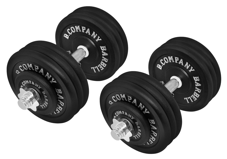 Bad Company Guss Kurzhantel-Set 70Kg (2 x Kurzhantelstange 40cm, 4x1,25 und 12x5Kg Hantelscheiben) Hantelset Hanteln Gewichte