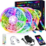 50ft LED Strip Lights,Smareal Led Lights Strip RGB LED Strip Music Sync Color Changing LED Strip Lights APP Bluetooth…