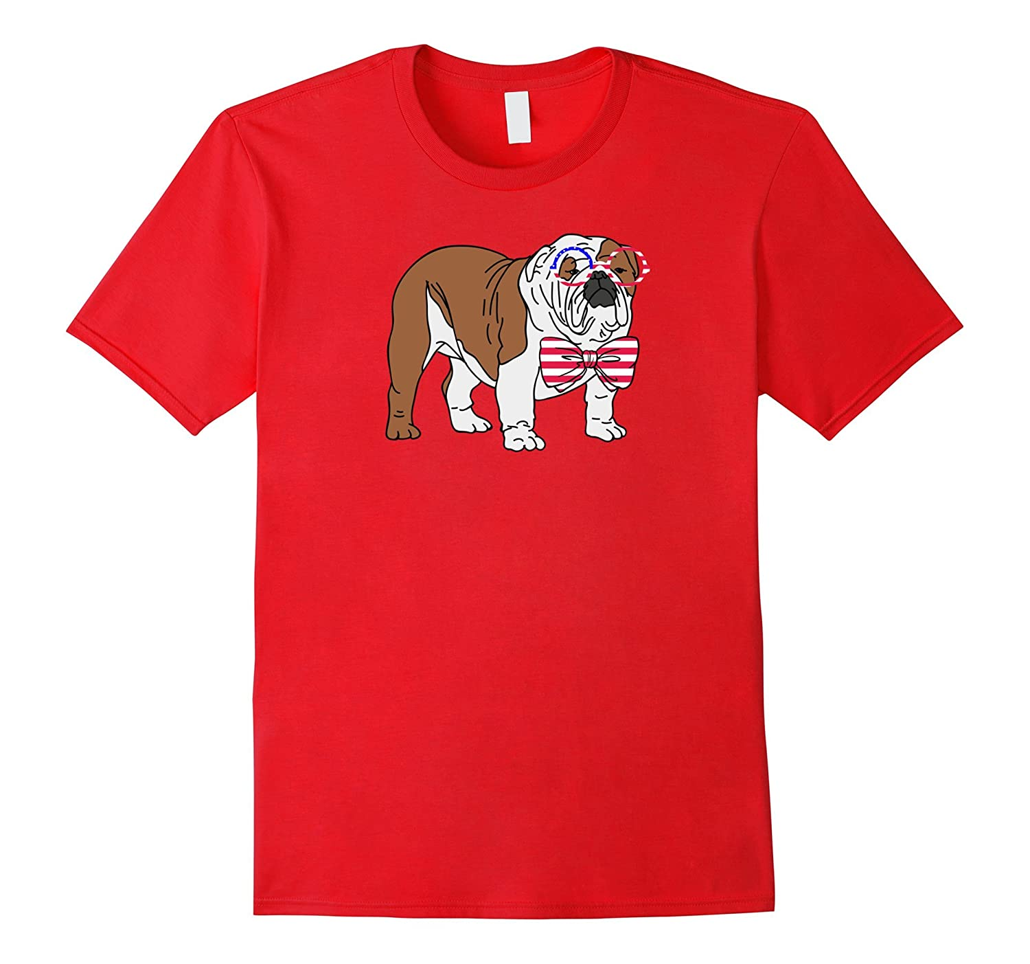 The 4th of July English Bulldog with Bow-Tie T-Shirt-Vaci