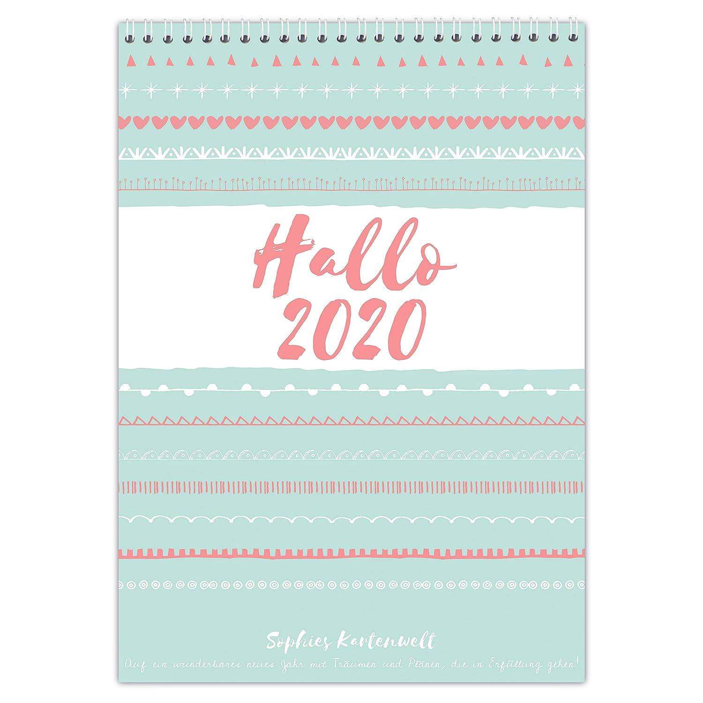 von Sophies Kartenwelt Familienplaner 2020 5 Spalten f/ür 5 Personen mit Schulferien und Vorschau f/ür 2021 DIN A3 Familienkalender 42 x 29,7 cm