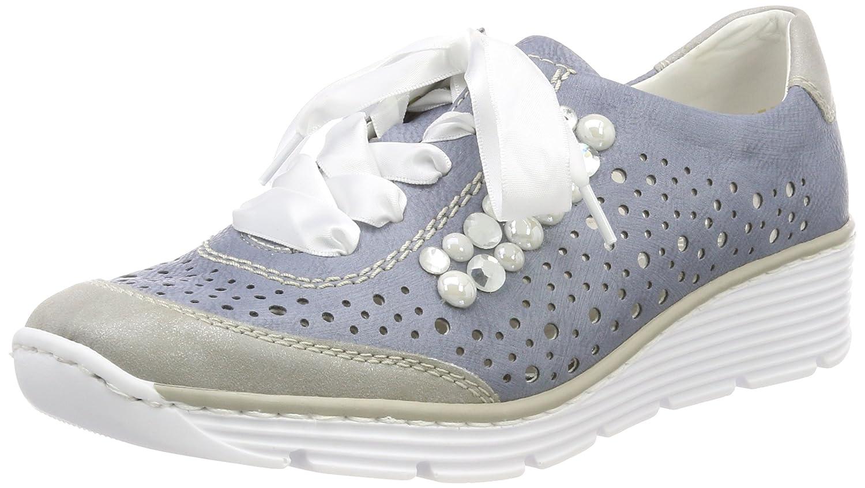 Rieker 587p3, Zapatos de Cordones Oxford para Mujer 42 EU Azul (Nebbia/Adria)