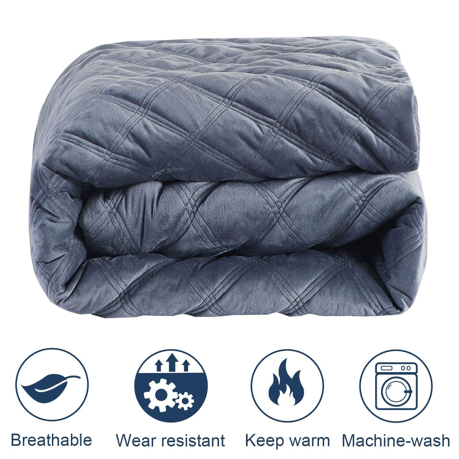Weighted Blanket with Cover (7 lbs for Kids, 41''x60''), Kids Weighted Blanket Heavy Blanket - Great Comfort for Children, 100% Premium Cotton with Glass Beads, Gray