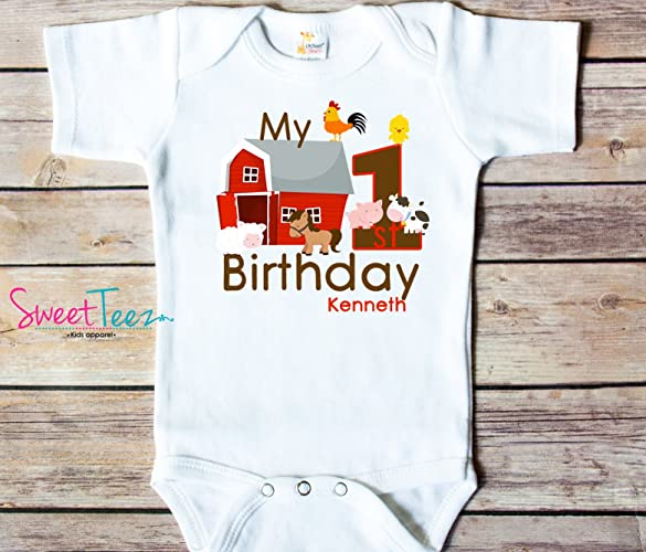 Amazon My First Birthday Shirt Farm Baby Bodysuit Personalized With Name And Age Handmade