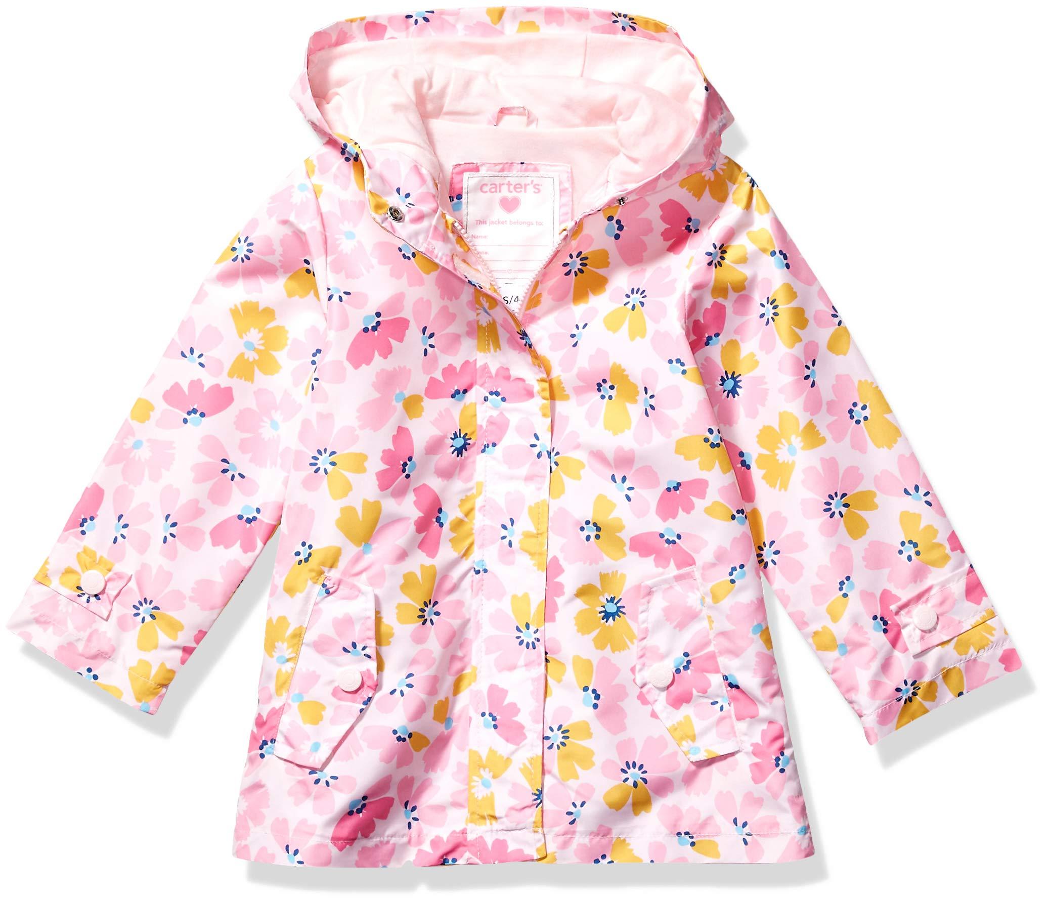 Carter's Girls' Little Perfect Rainslicker Rain Jacket, Gold & Pink Floral, 5/6 by Carter's