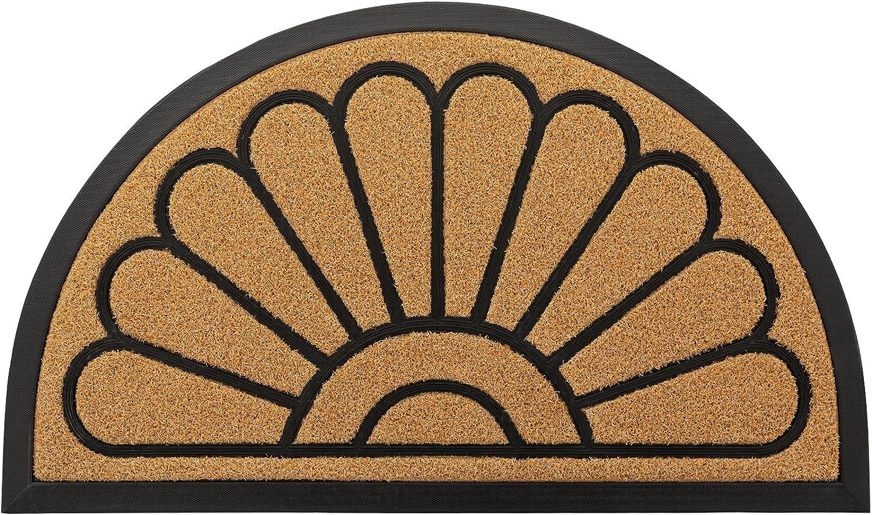 Outdoor Door Mat by JeemeeSpace, Half-Circle Rubber Doormat, Durable Welcome Doormat for Entry, Patio, Backyard & Home, Heavy Duty & Capture Dirt (18