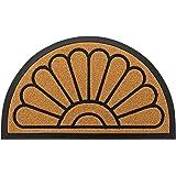 Outdoor Door Mat by JeemeeSpace, Half-Circle Rubber Doormat, Durable Welcome Doormat for Entry, Patio, Backyard & Home, Heavy
