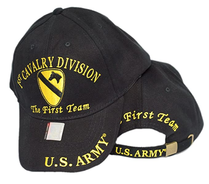 a9ab09179d2c0 mws U.S. Army 1st Cavalry Division The First Team Embroidered Black Baseball  Cap Hat