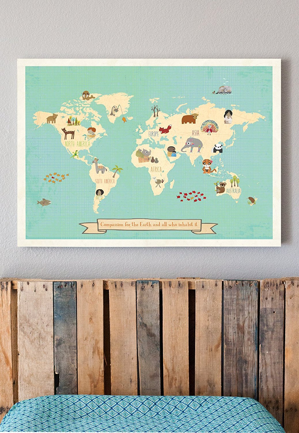 Nursery D/écor Nature Themed Nursery Kids Global Compassion World Map 11x14 Inch Print Nursery Wall Art Childrens Wall Art Map Kids Animal World Map Kids Art