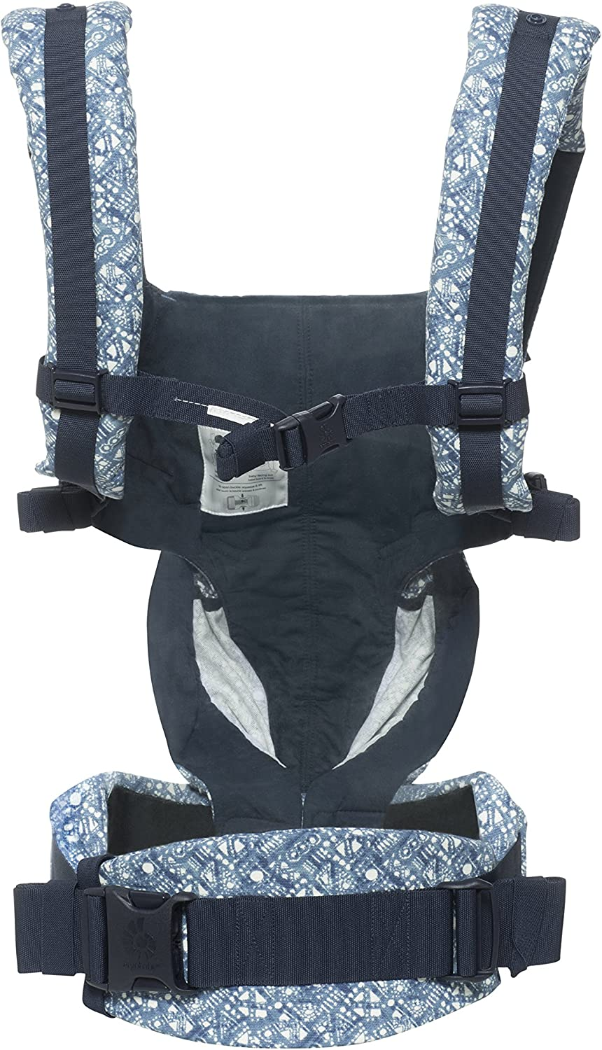 Blue Blooms Ergobaby Baby Carrier for Newborn to Toddler 4-Position Omni 360 Cool Air Mesh Ergonomic Child Carrier Backpack